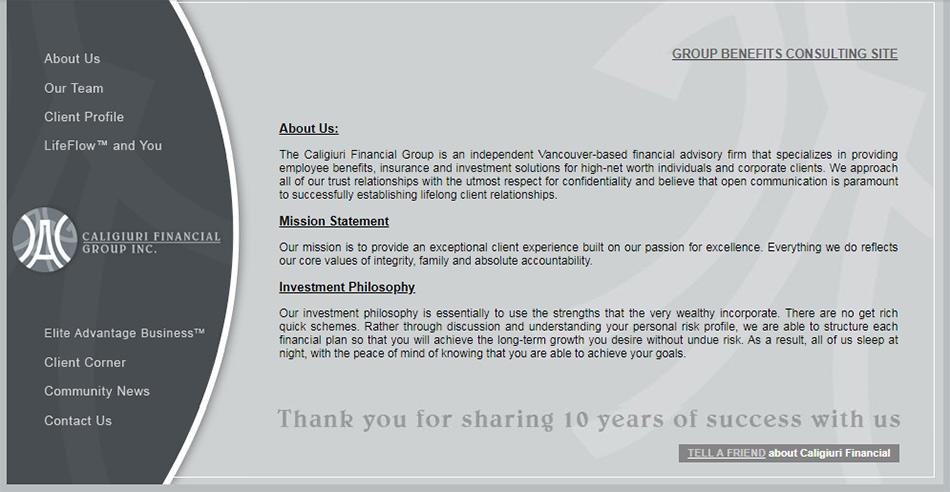 Arhivirani bivši web sajt The Caligiuri Financial Group firme