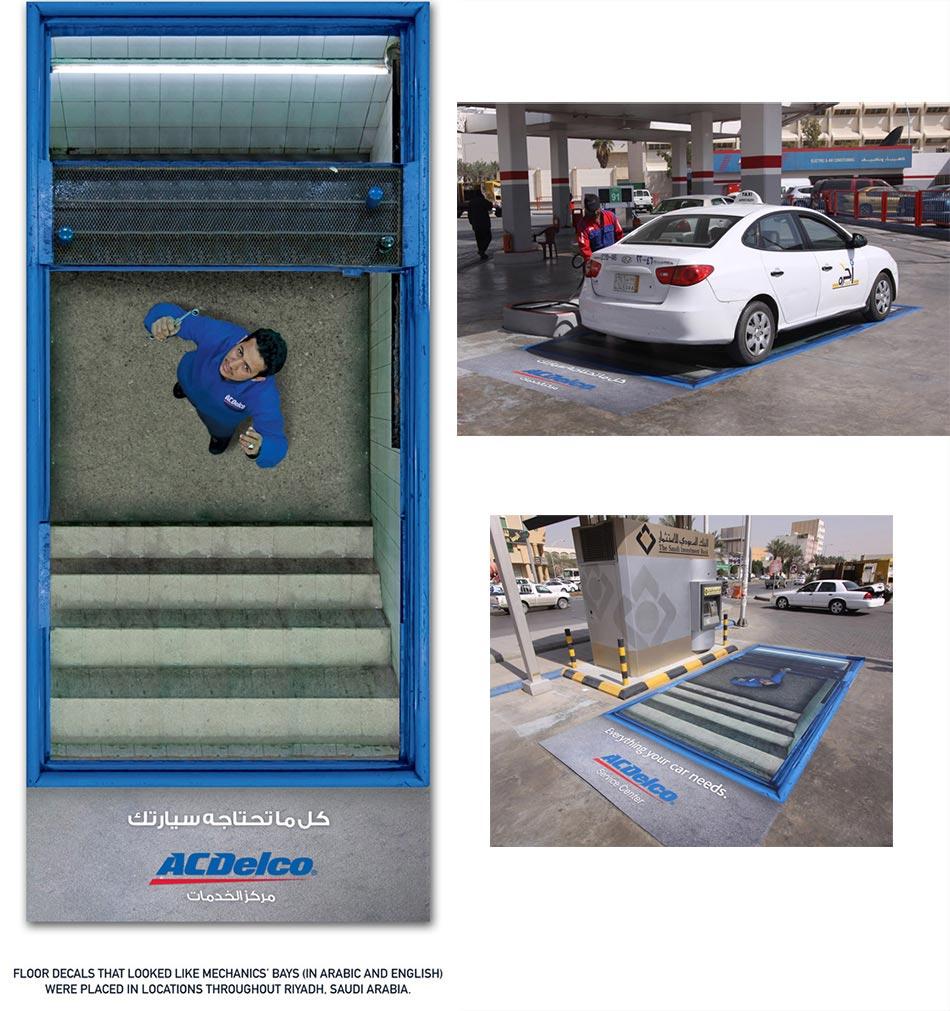 Automehaničar u kanalu i auto na pumpi: reklamiranje firme ACDelco