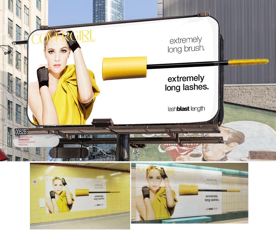 Bilbord i posteri sa maskarom koja izlazi napolje sa strane: reklamiranje CoverGirl firme