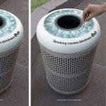Gašenje cigarete na kanti za smeće: reklamiranje Quit e-cigare - sličica