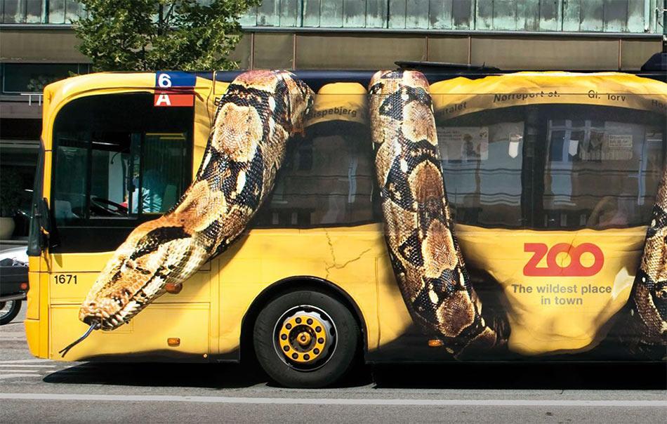 Leva polovina busa - golemi Carski udav prednjim delom tela steže prednji deo busa - reklamiranje firme