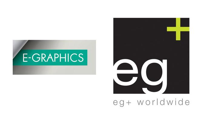 Levo je bivši znak i logo, desno je sadašnji znak i logo firme eg+