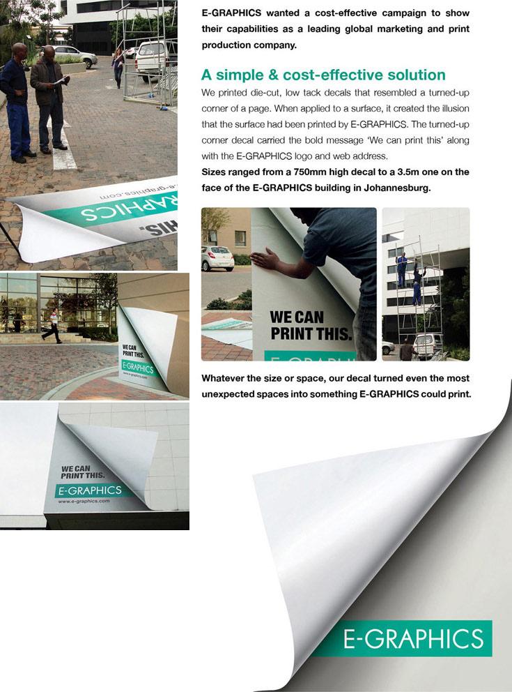 Odštampan betonski kolovozni put sa izvrnutim ćoškom - reklamiranje firme eg plus