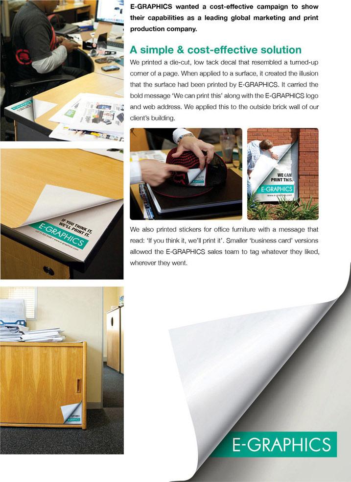 Odštampani radni sto i orman sa presavijenim ćoškovima - reklamiranje firme eg plus