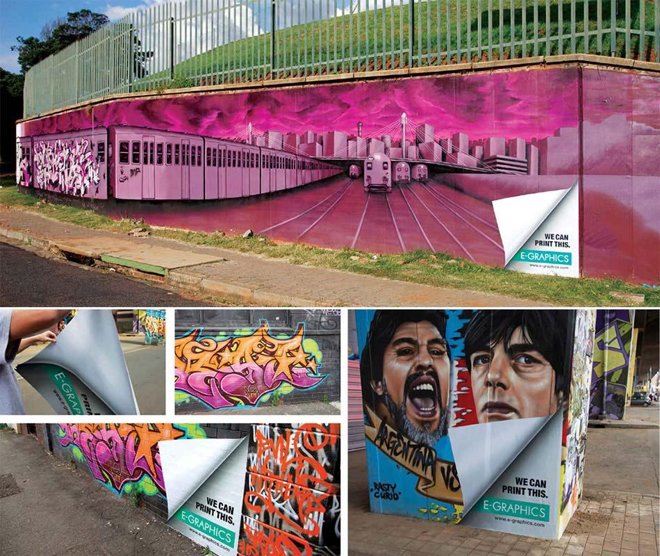 Odštampani street art po zidovima sa podvijenim ćoškovima - reklamiranje firme eg plus