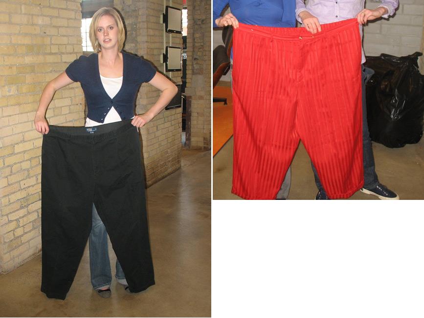 Ogromne široke pantalone ispred normalno uhranjenih