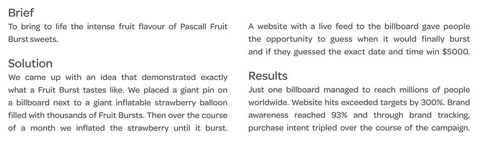 Reklama pucanja jagode opisana na engleskom