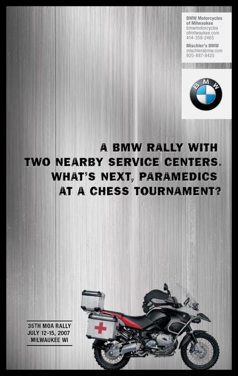 Poruka 35-og BMW MOA motociklističkog relija - reklamiranje firme