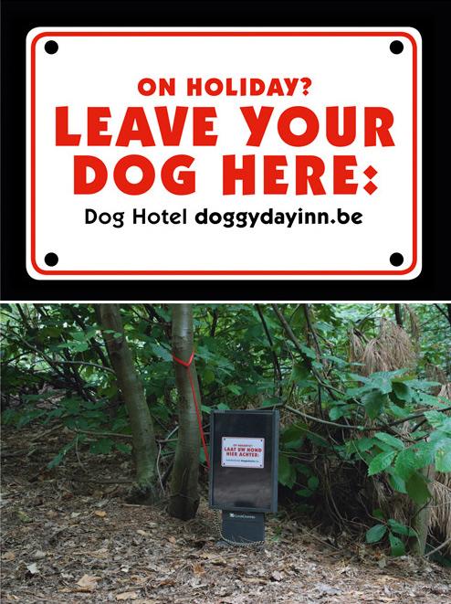 Poruka na bilbordu - na odmoru ste ostavite vašeg psa ovde - reklamiranje firme Doggyday Inn