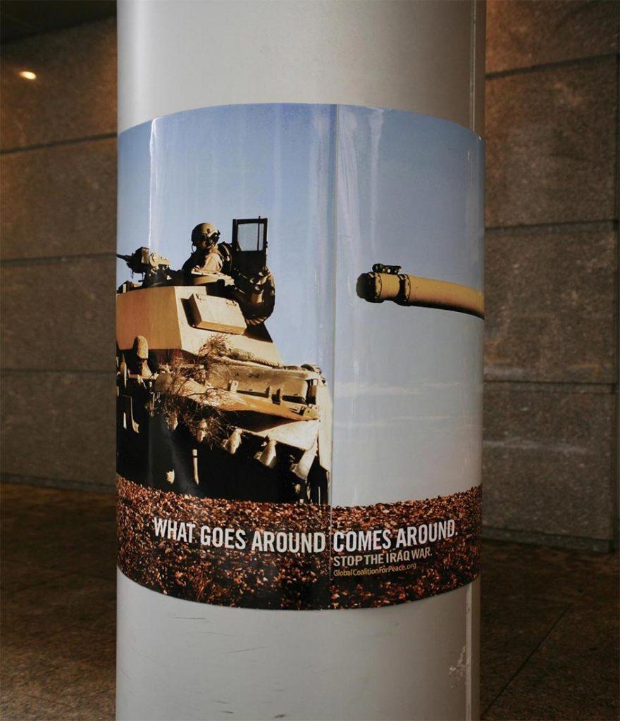 Poster obmotan oko stuba cev tenka u potiljak posadi istog tenka GKzM