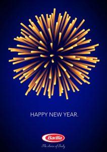 Poster sa novogodišnjim vatrometom Barilinih špageta - reklamiranje firme