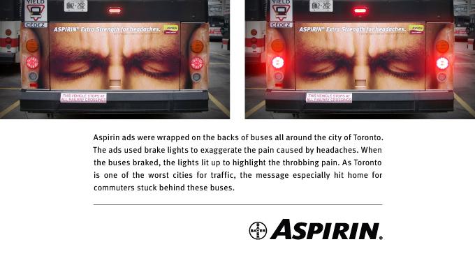 Ugašena i upaljena štop svetla i tekst na engleskom: reklamiranje firme Bayer