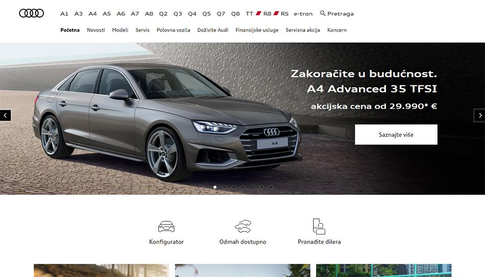 Web sajt Audi firme 4 jun 2021