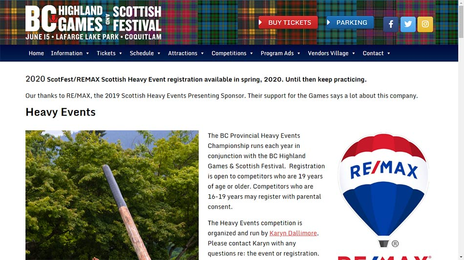 Web sajt BC Highland Games Committee