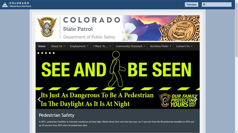 Web sajt Colorado State Patrol-a