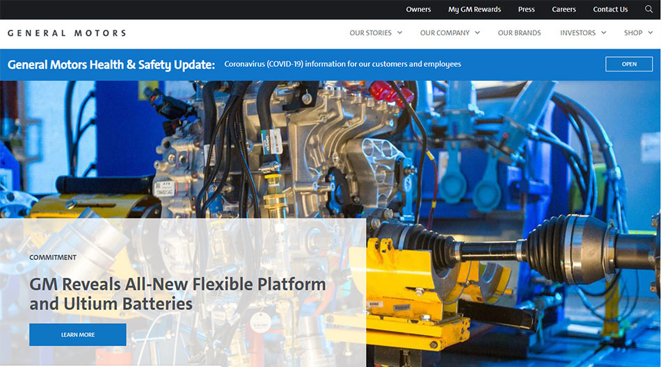Web sajt General Motors firme