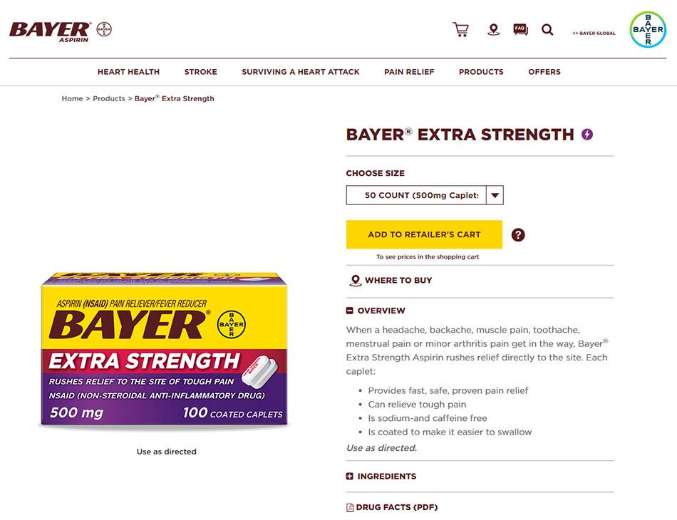 Web stranica ekstra snažnog Aspirina Bayer firme