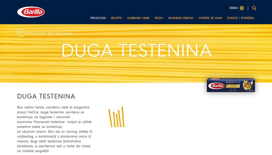 Web stranica Barilla špageta - duge testenine